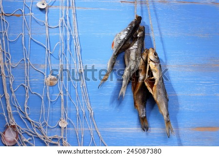 Dried rudd fish and fishing net on blue background, horizontal - stock photo