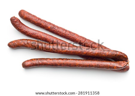dried sausages on white background - stock photo