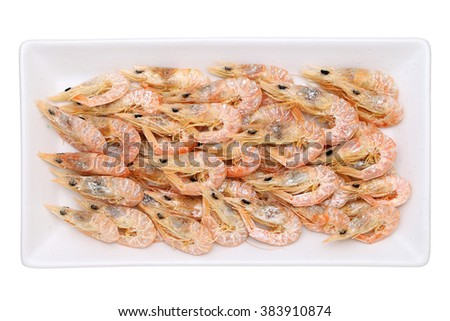 dried shrimp on plate isolated on white background - stock photo