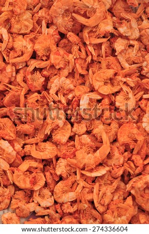Dried shrimps on asian fish market for background - stock photo