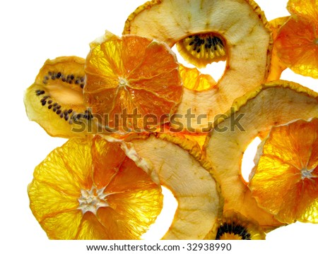 Dried slices of apple and orange and kiwi