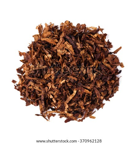 dried smoking tobacco. Isolated on a white background. - stock photo