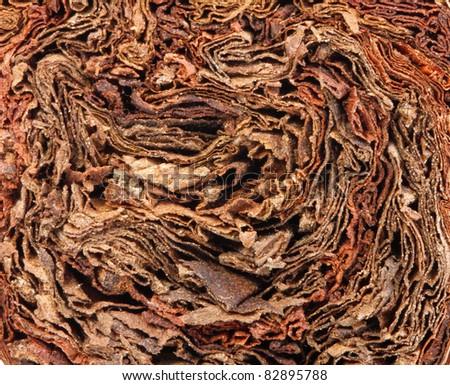 dried smoking tobacco leaves close-up macro view - stock photo