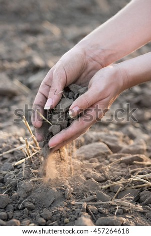 Dried soil dropping trough fingers