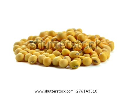 Dried soybean on a white background