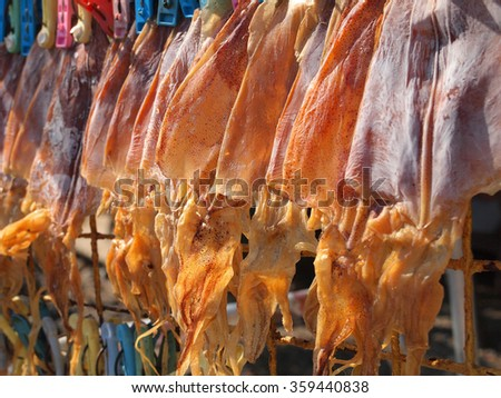 Dried Squid close up in Thailand.