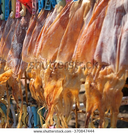 Dried Squid close up in Thailand. - stock photo