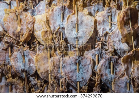 Dried squid street food,thailand.
