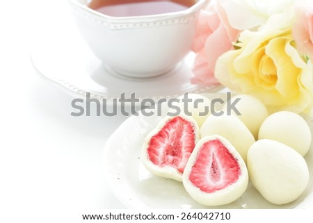 dried strawberry coating by white chocolate for Japanese sweet food image - stock photo