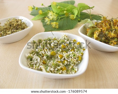 Dried tea herbs and fresh linden flowers