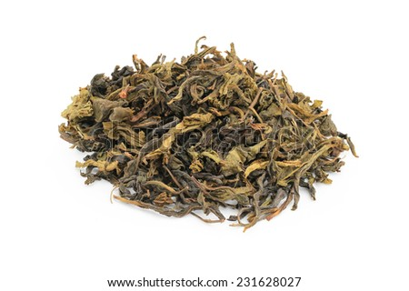 Dried tea leaves and tea for health isolated on white background. This has clipping path.