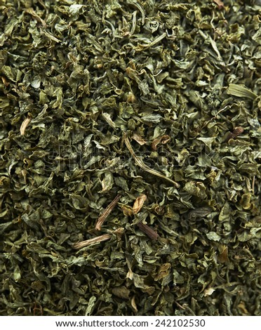 Dried tea leaves background - stock photo