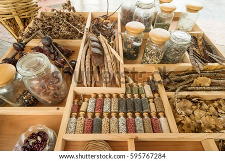 Dried Thai herbs from natural to traditional medicine