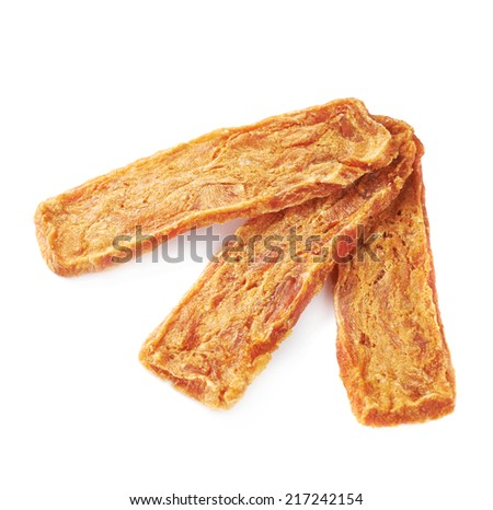 Dried three meat strip snacks composition, isolated over the white background - stock photo