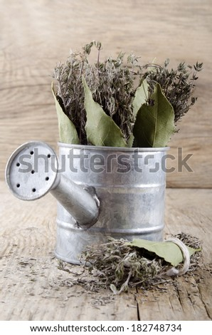 dried thyme covenant and bay leaf in a watering can - stock photo