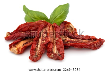 Dried tomatoes isolated on white background cutout - stock photo