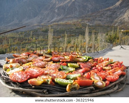 Dried tomatoes, Paksistan - stock photo