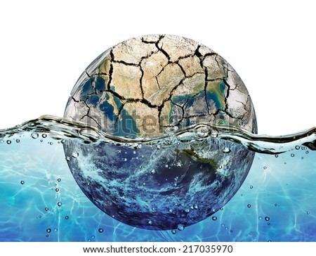 """Dried up planet immersed in the waters of world ocean """"Elements of this image furnished by NASA"""" - stock photo"""