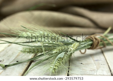 Dried wheat and straw on a rustic looking surface.