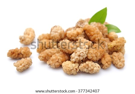 Dried white mulberry on a white background