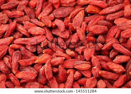Dried wolfberry fruit close up - stock photo