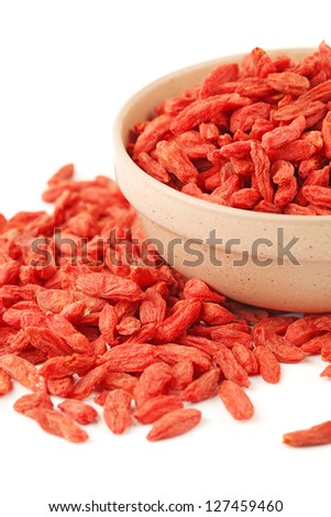 dried wolfberry fruit on white background - stock photo