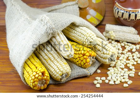 Dried yellow and white corn cobs in a bag on a wooden table - stock photo