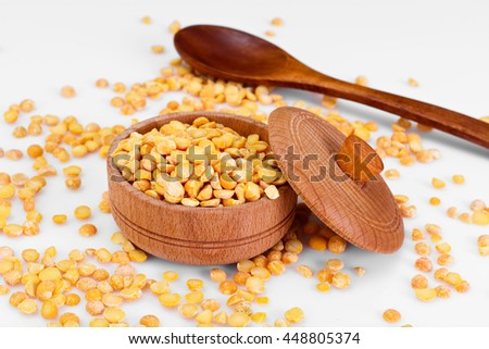 Dried Yellow Peas Background Studio Photo