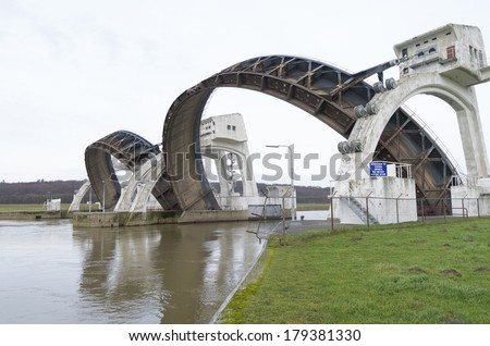 Driel Weir in the Netherlands. It makes part of the weir complex Amerongen, consisting of locks, a weir and a fishway in the Rhine river (Nederrijn). - stock photo