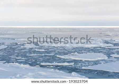 Drift ice, Sea of Okhotsk, Japan - stock photo