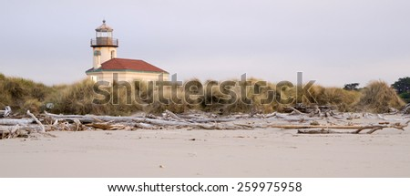 Driftwood gathers high on the beach viewed at low tide - stock photo