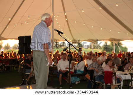 Driggs, Idaho, USA July 3, 2015 Motivational speaker and former UNLV basketball coach Bobby Knight speaks to a crowd. - stock photo