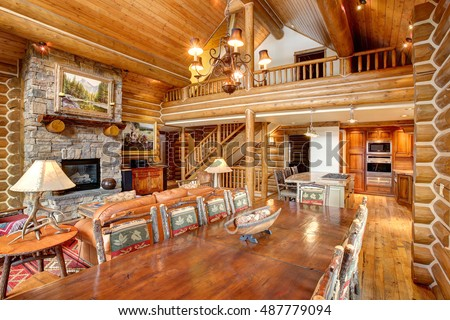 Driggs, Idaho, USA Nov. 11, 2014 The formal dining and living room in a modern log cabin