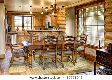 Driggs, Idaho, USA Nov. 11, 2014 The formal dining room in a modern log cabin