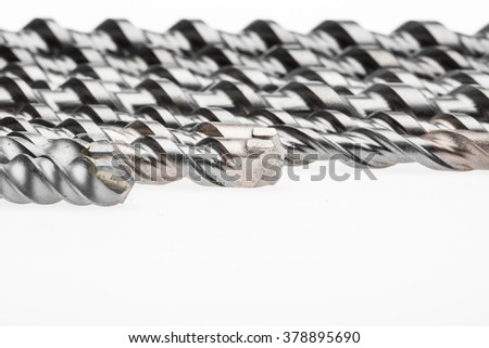 Drill bit for brick and concrete borer for perforator on a white background. industrial punchers