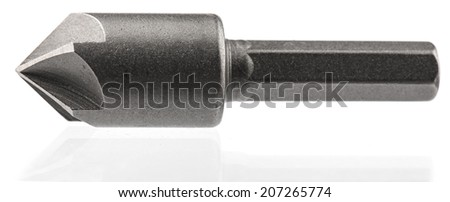 Drill bits, isolated on white background close-up  - stock photo