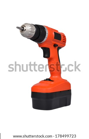 drill electric screwdriver isolated on a white background