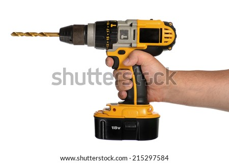 drill in hand on white background - stock photo