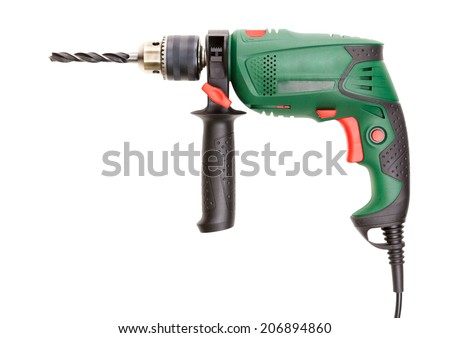 Drill isolated on white background - stock photo