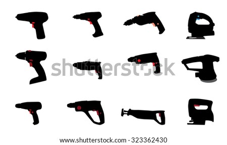Drill, Jig Saw and other Power Tools. Illustration - stock photo