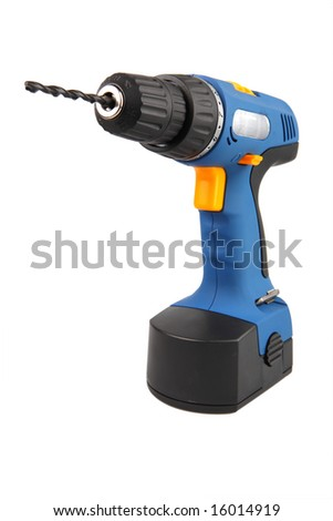 Drill screwdriver on a white background