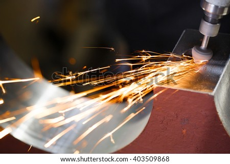 Drill with diamond-tipped polishing metal parts. - stock photo
