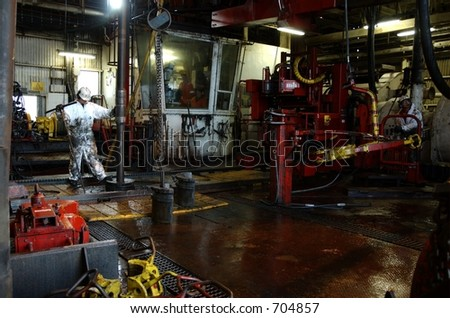 Drillfloor on an oil rig in the Norwegian North Sea - stock photo