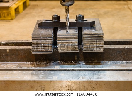 jig and fixture for drilling machine. drilling machine on steel plate pack jig and fixture for
