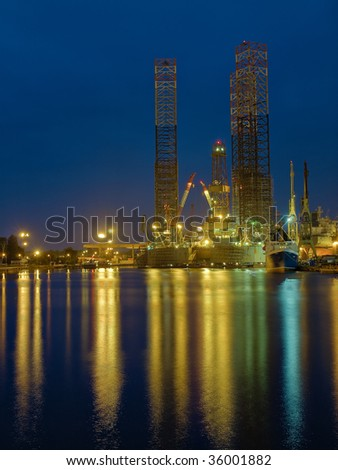 Drilling rig in repair in shipyard Gdansk, Poland.