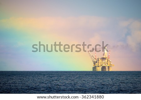 Drilling rig. Northern part of Sakhalin Island, Russia.