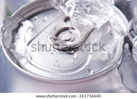drink can iced submerged in frost ice closeup - stock photo