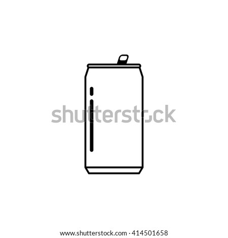 Drink can icon isolated on white background, linear can flat silhouette design, shape, outline line style image