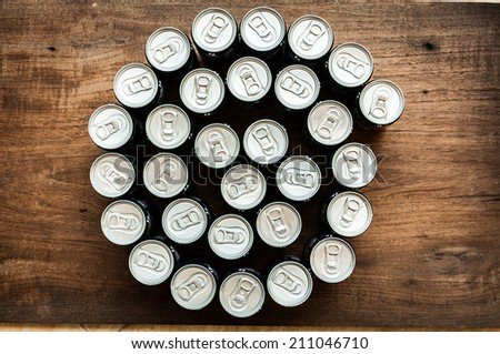 drink cans. Top view - stock photo