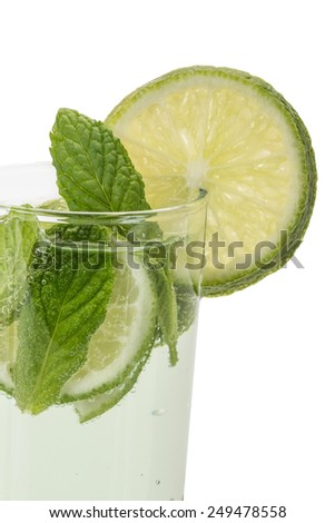 drink decorated with mint and lime - stock photo